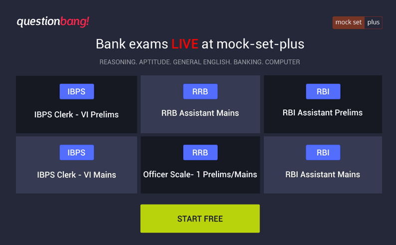 Bank mock exams @ mock-set-plus