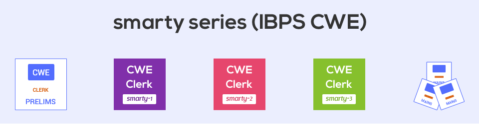 Mock exams (Smarty series) for Bank Clerical - Prelims and Mains